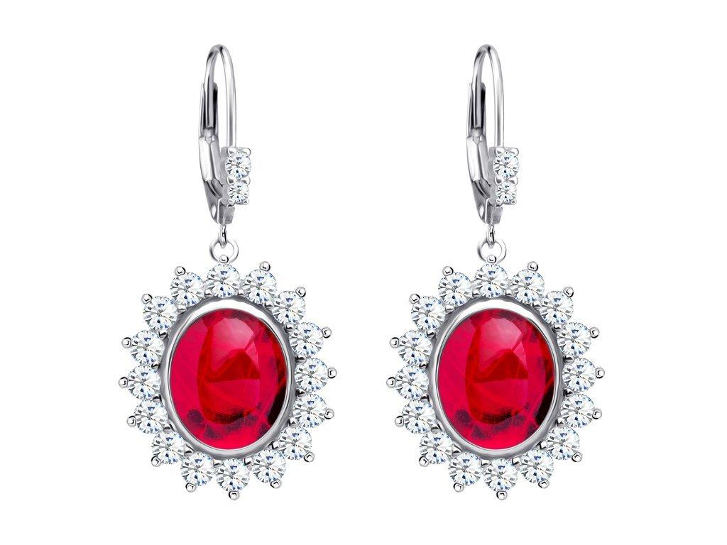 Stříbrné náušnice Camellia s českým křišťálem a kubickou zirkonií Preciosa - červené