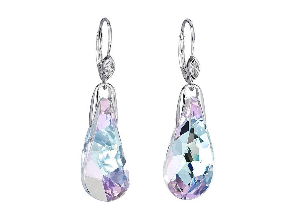Stříbrné náušnice Crystal Beauty s českým křišťálem Preciosa - kombi