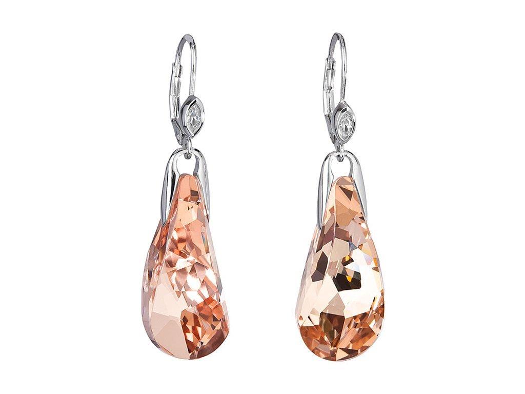 Stříbrné náušnice Crystal Beauty s českým křišťálem Preciosa - oranžové
