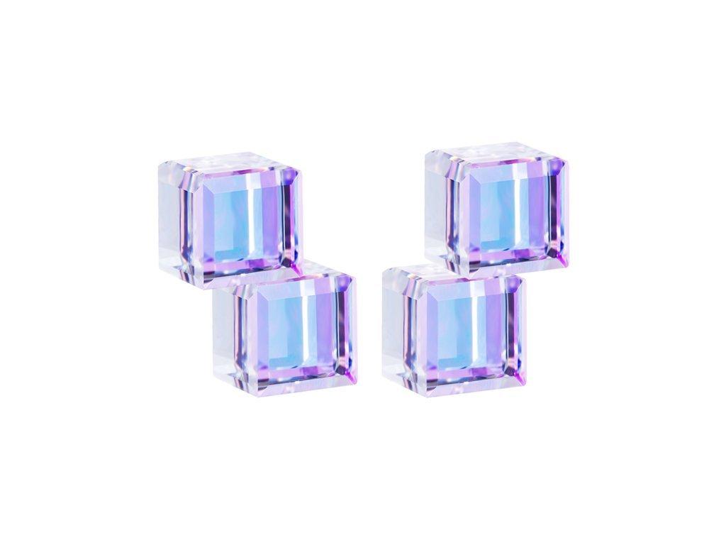 Stříbrné náušnice Crystal Cubes s českým křišťálem Preciosa - fialové