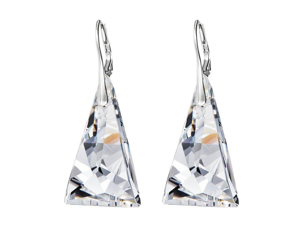 Stříbrné náušnice Crystal Pyramid s českým křišťálem Preciosa