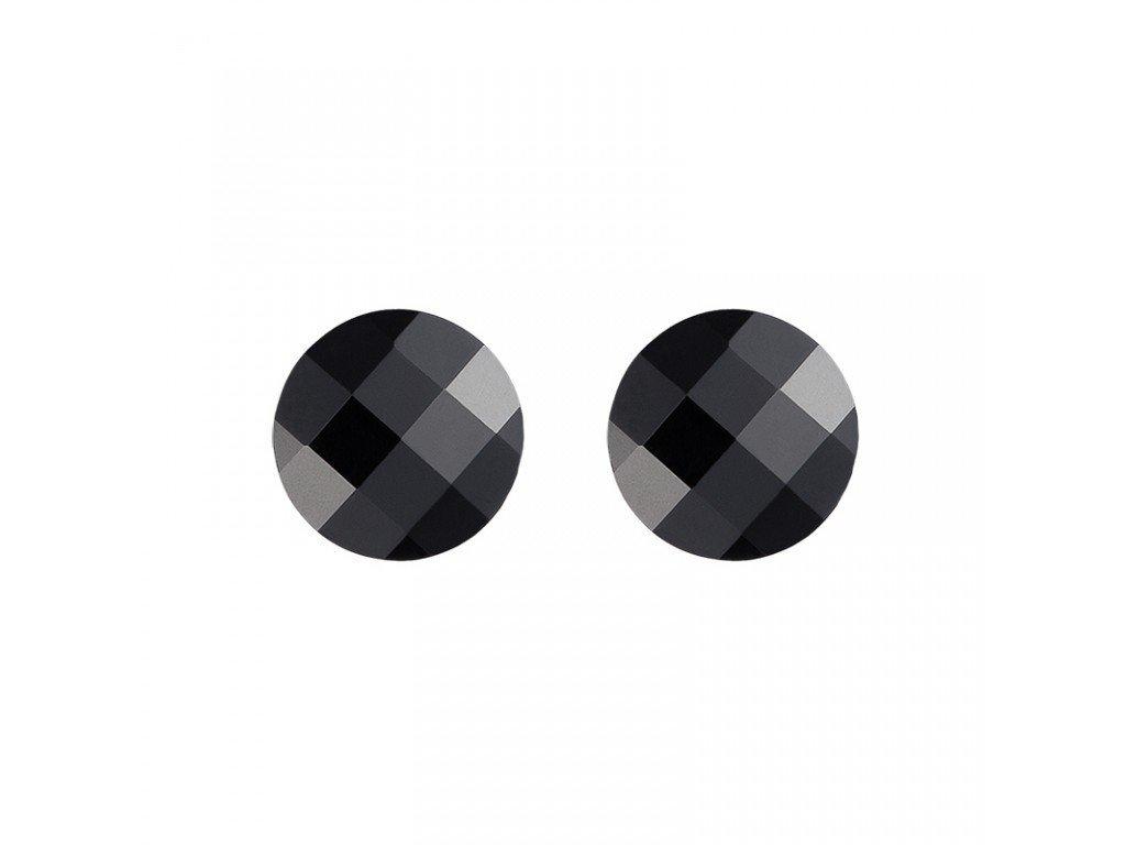Stříbrné náušnice Dark Style s českým křišťálem Preciosa