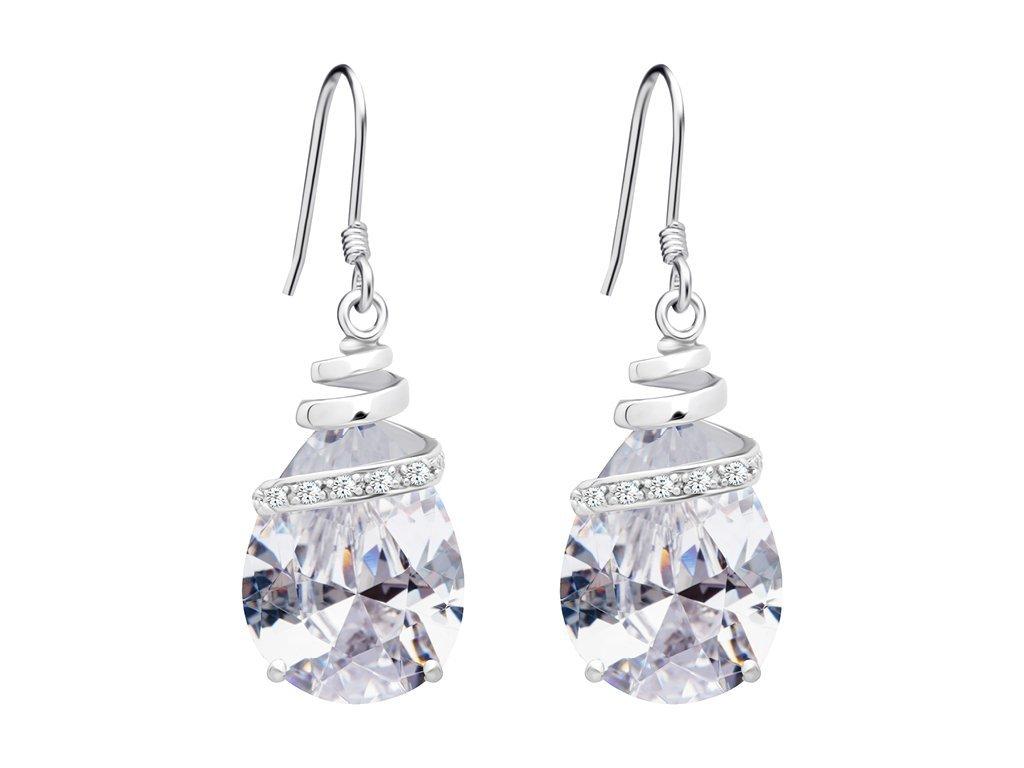 Stříbrné náušnice Elegant s kubickou zirkonií Preciosa - krystal