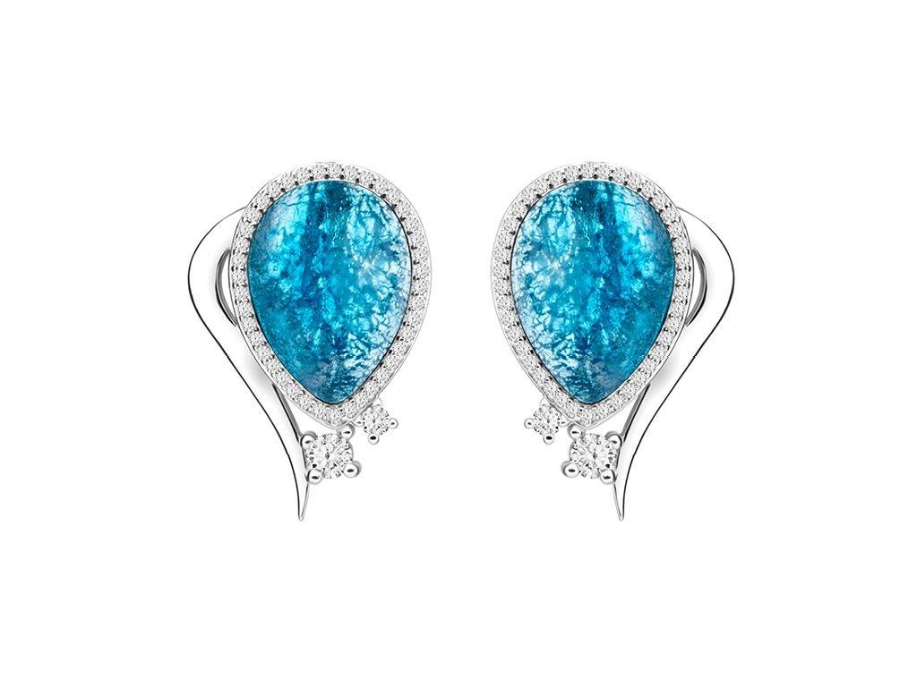 Stříbrné náušnice Ines s českým křišťálem a kubickou zirkonií Preciosa - modré 6111 29