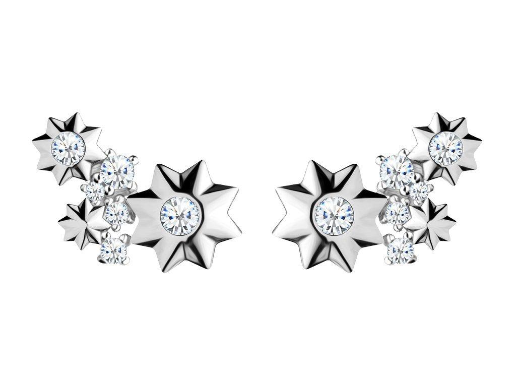 Stříbrné náušnice Orion s kubickou zirkonií Preciosa, hvězdičky 5246 00