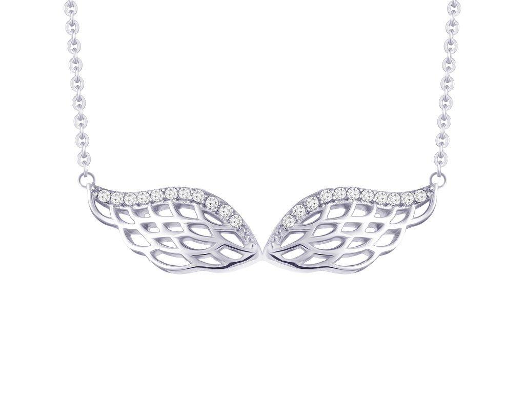 Stříbrný náhrdelník Angel Wings, andělská křídla s kubickou zirkonií Preciosa 5217 00