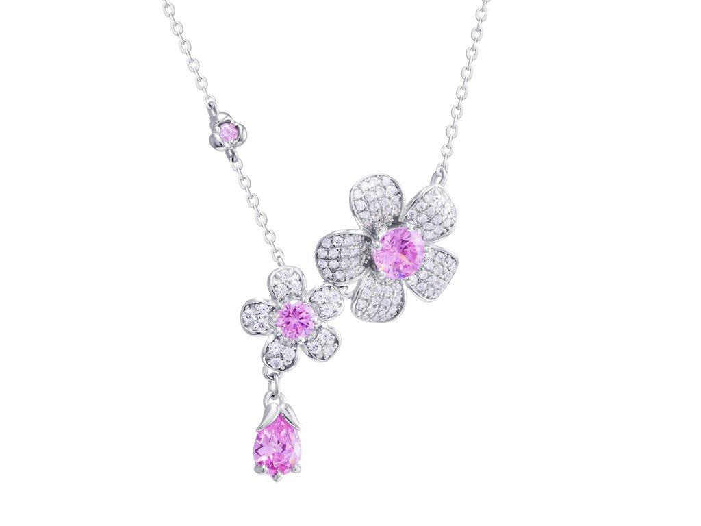 Stříbrný náhrdelník Clematis s kubickou zirkonii Preciosa