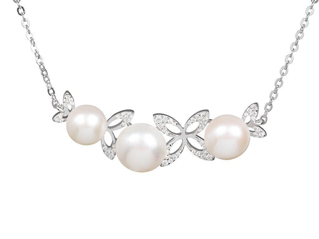 Stříbrný náhrdelník Cleopatra's Secret s pravými říčními perlami Preciosa 5206 00
