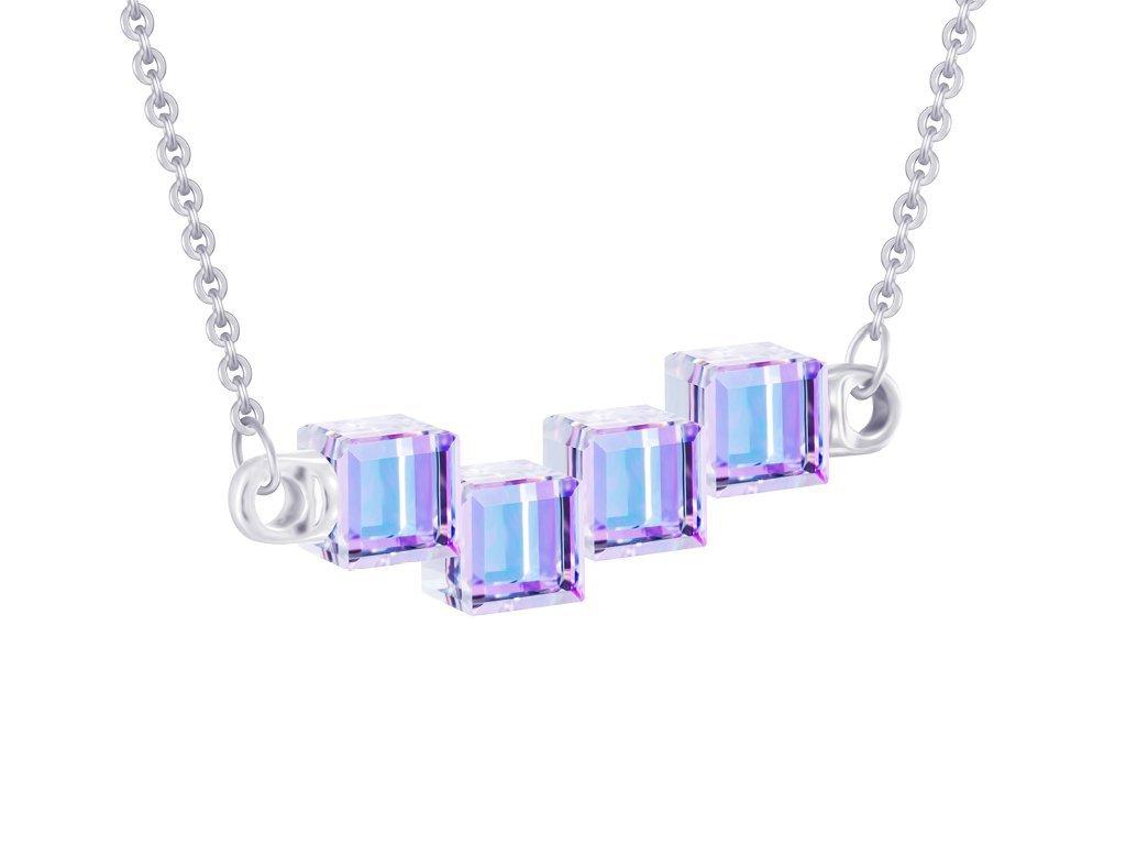 Stříbrný náhrdelník Crystal Cubes s křišťálem Preciosa - fialový