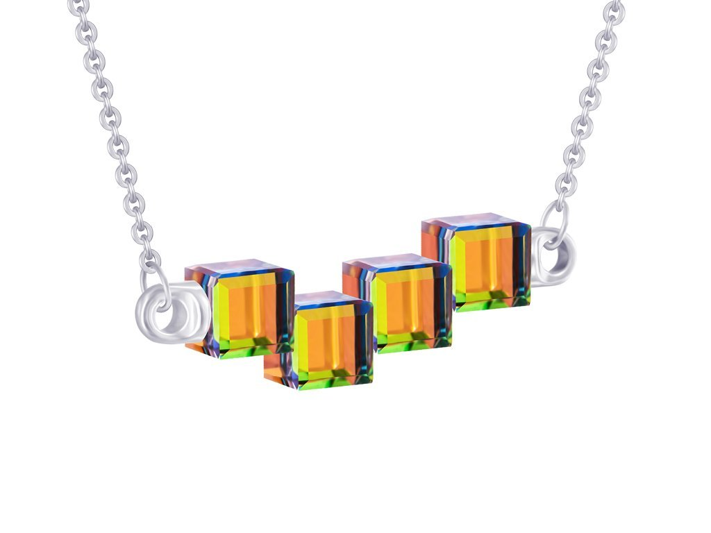 Stříbrný náhrdelník Crystal Cubes s křišťálem Preciosa - kombi