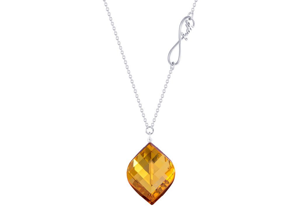 Stříbrný náhrdelník Faith s křišťálem Preciosa - žlutý