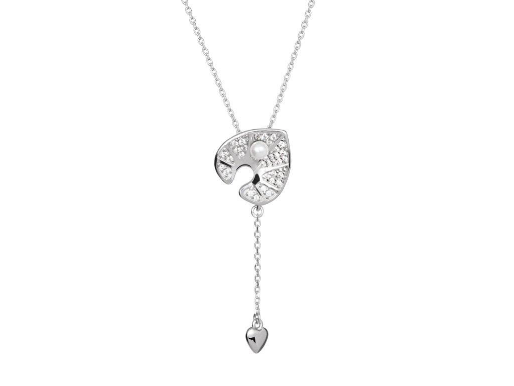 Stříbrný náhrdelník White Water Lily s pravou říční perlou Preciosa