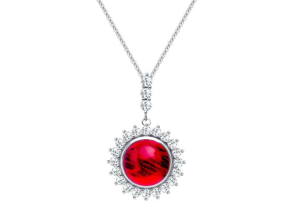 Stříbrný přívěsek Camellia s českým křišťálem a kubickou zirkonií Preciosa - červený