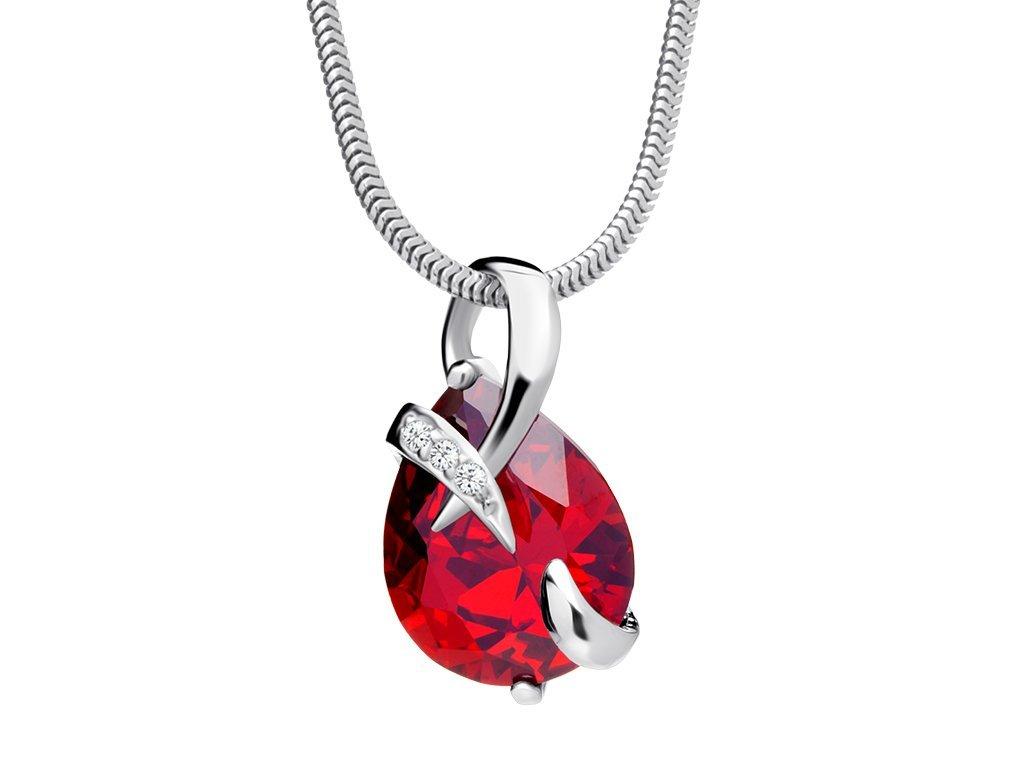 Stříbrný přívěsek Dainty s českým křišťálem a kubickou zirkonií Preciosa - červený
