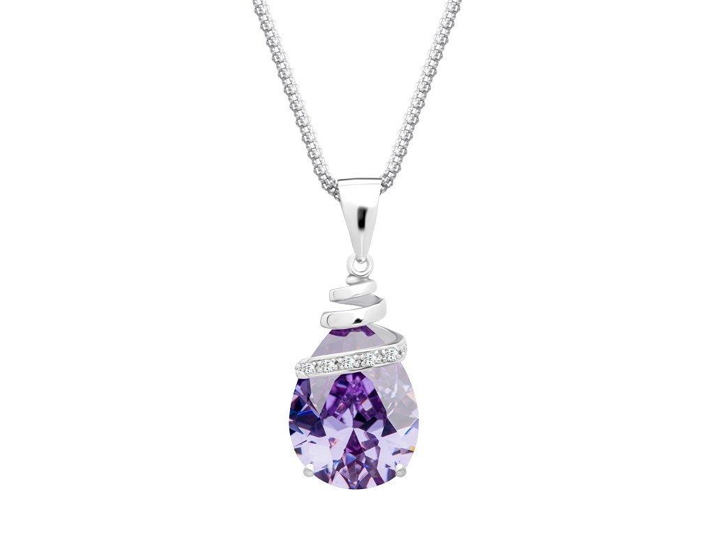 Stříbrný přívěsek Elegant s kubickou zirkonií a s českým křišťálem Preciosa - fialový