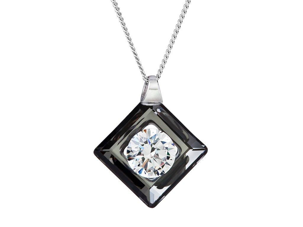 Stříbrný přívěsek Precious s českým křišťálem Preciosa - černá