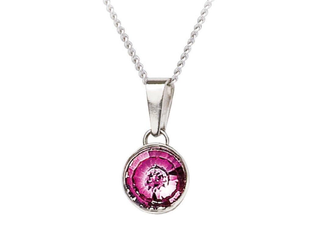 Stříbrný přívěsek Sparkling Shine s českým křišťálem Preciosa - růžový