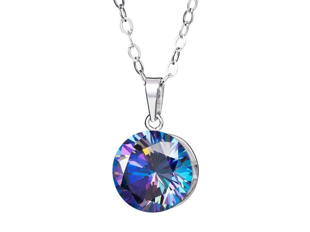Stříbrný přívěsek Starry s kubickou zirkonií Preciosa - modrý 517246L