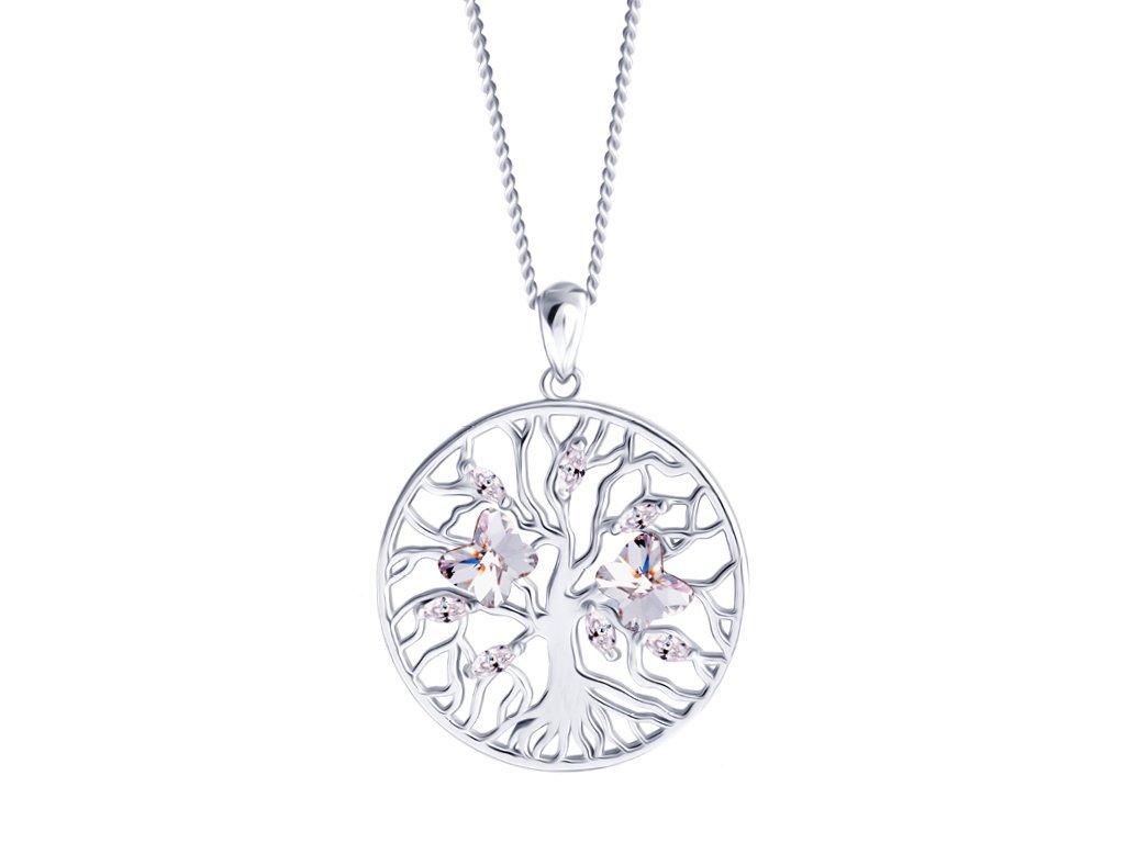 Stříbrný přívěsek Tree of Life, strom života, motýli s křišťálem Preciosa 6072 00
