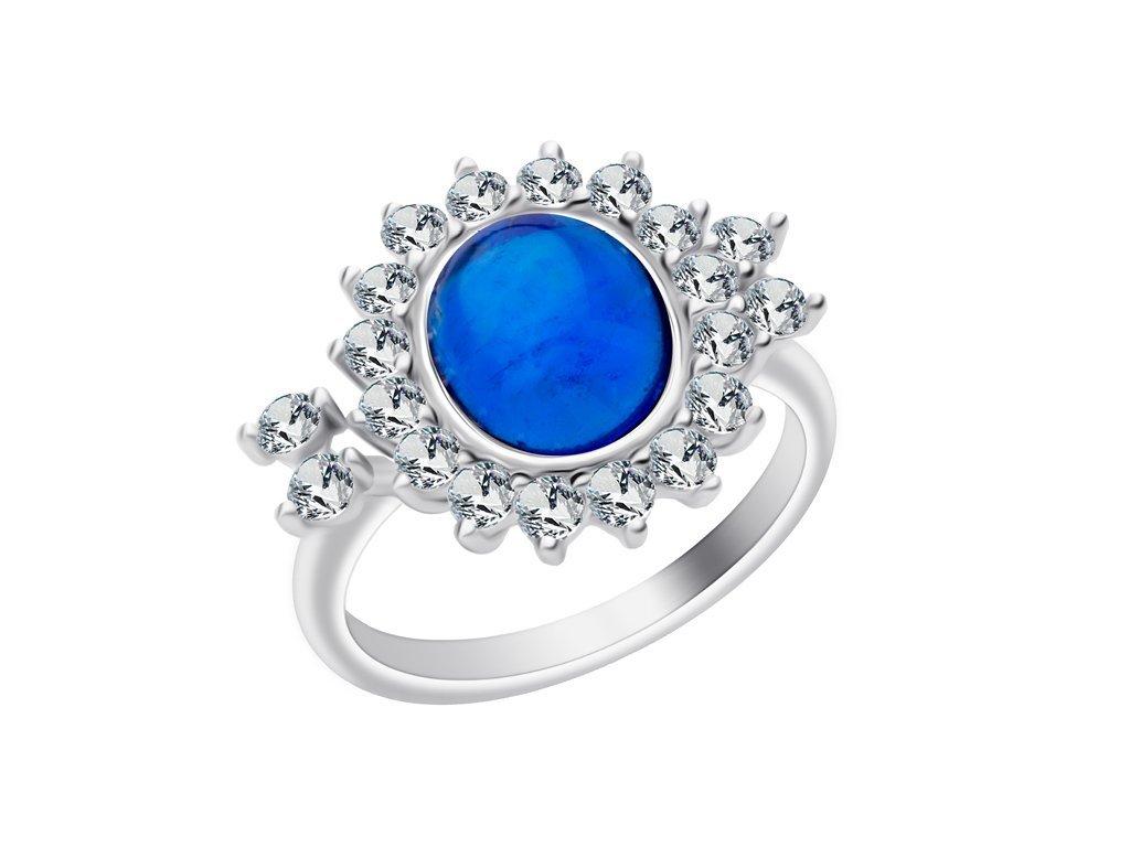 Stříbrný prsten Camellia s českým křišťálem a kubickou zirkonií Preciosa - modrý