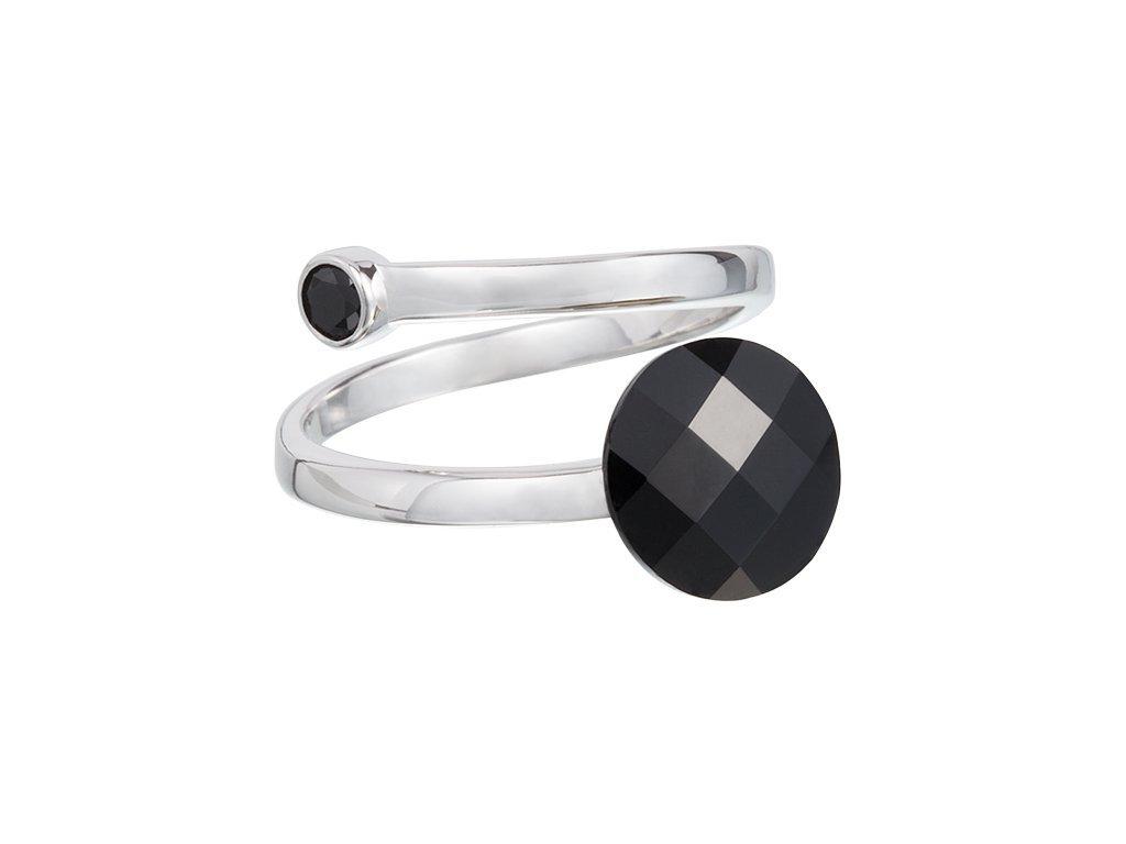 Stříbrný prsten Dark Style s českým křišťálem Preciosa