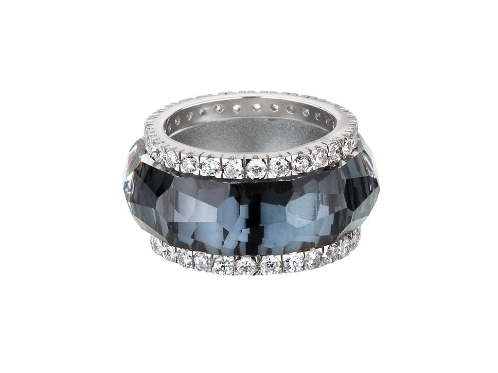 Stříbrný prsten De Luxe s českým křišťálem Preciosa - černý