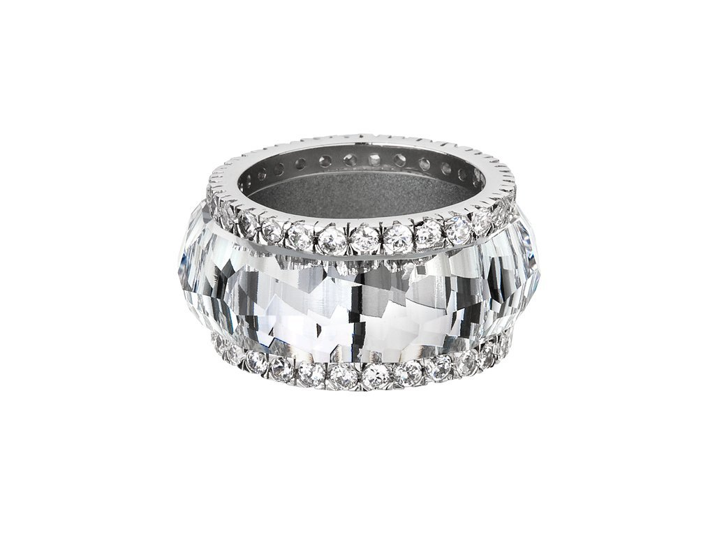 Stříbrný prsten De Luxe s českým křišťálem Preciosa - krystal