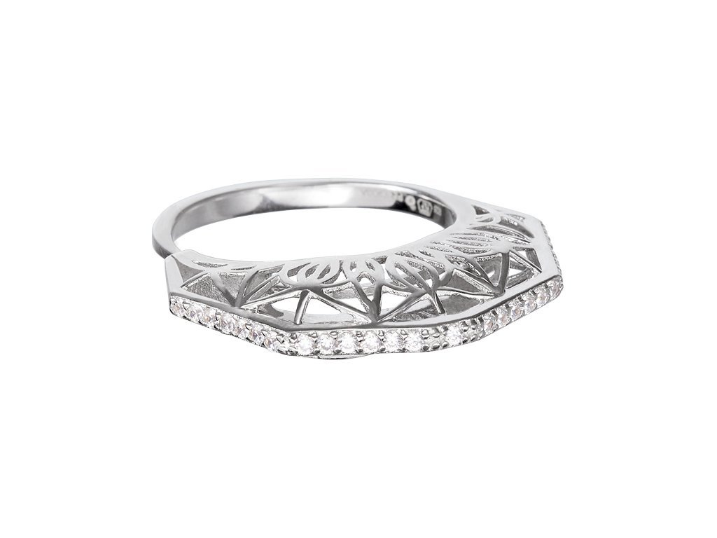 Stříbrný prsten Lotus Bud s českým křišťálem a kubickou zirkonií Preciosa
