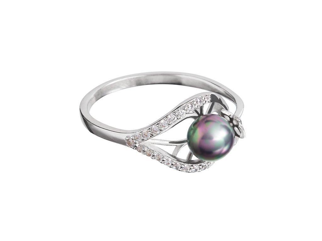 Stříbrný prsten Touch of Luxury s černou říční perlou Preciosa
