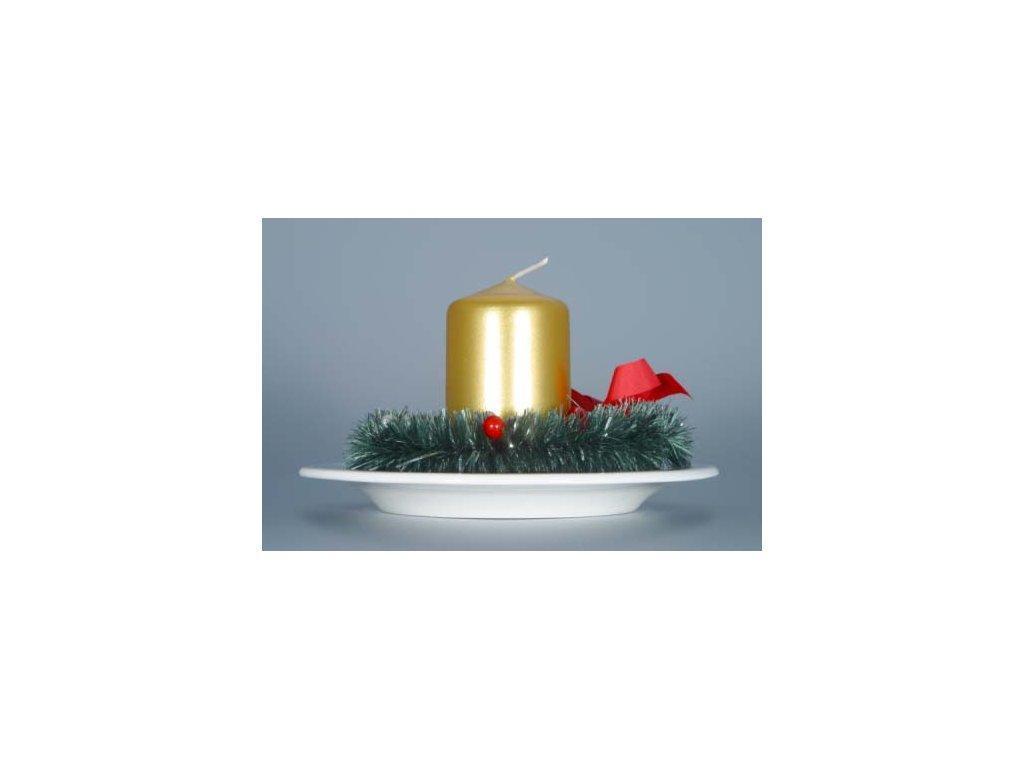 Svícen vánoční osobní s věnečkem a svíčkou - cibulový porcelán 10468