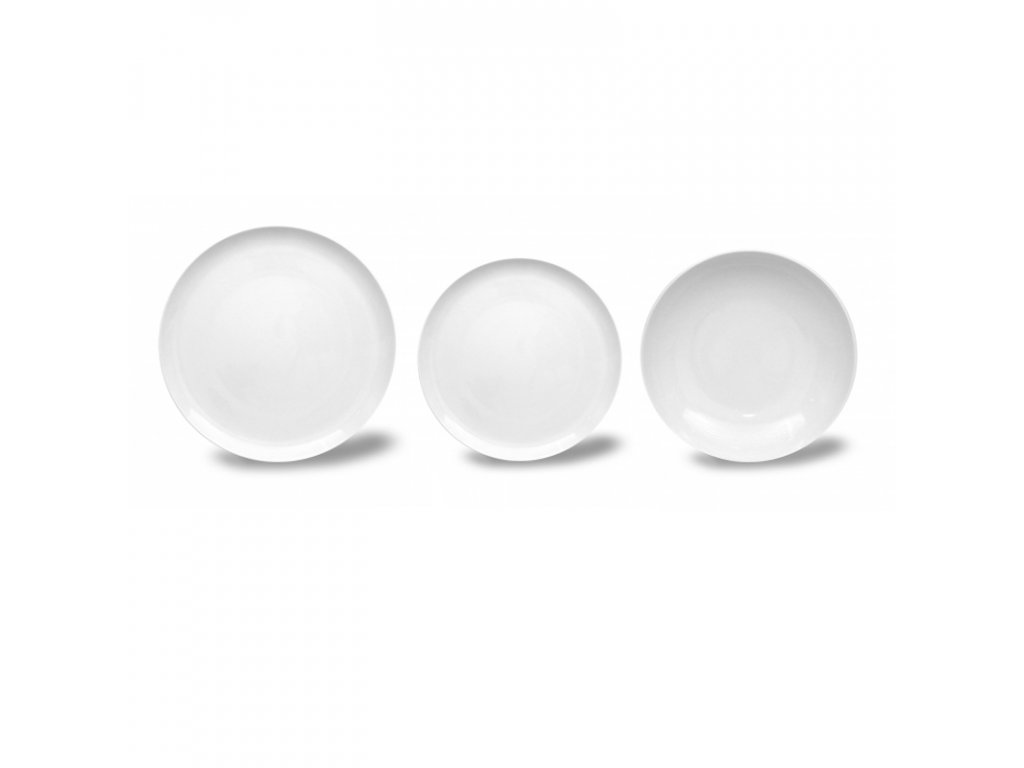 Talířová souprava pro 6 osob, Thun 1794, karlovarský porcelán, TOM bílý, nedekorovaný