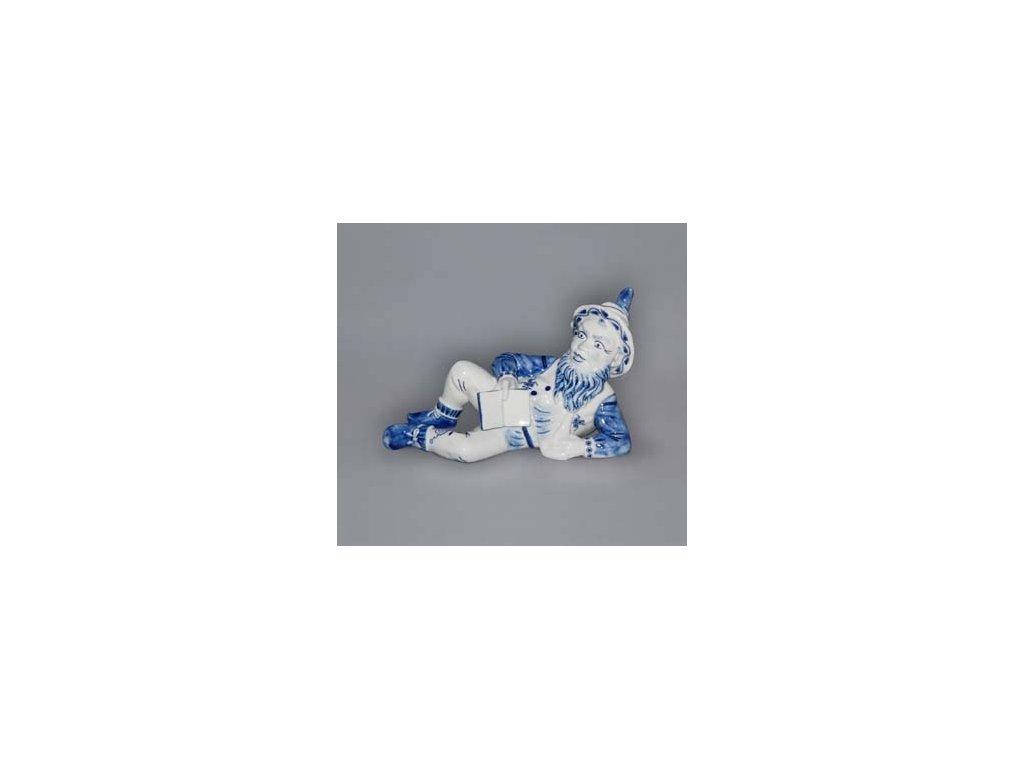 Trpaslík ležící s knihou Ferdinand - cibulový porcelán 10696
