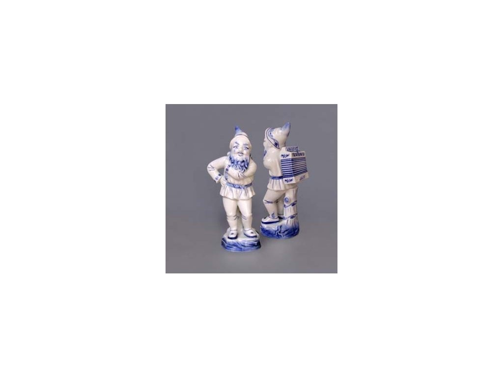 Trpaslík s harmonikou LOJZA - cibulový porcelán 10084