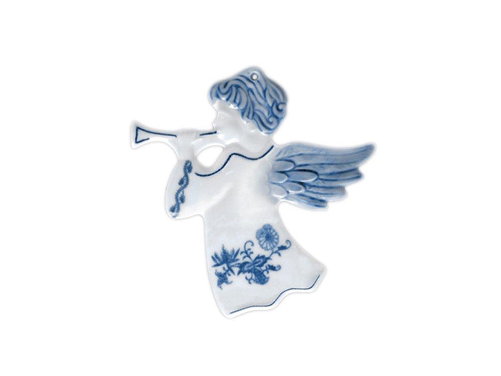 Vánoční ozdoba - anděl s trump. hladký, oboustr. - cibulový porcelán 10632