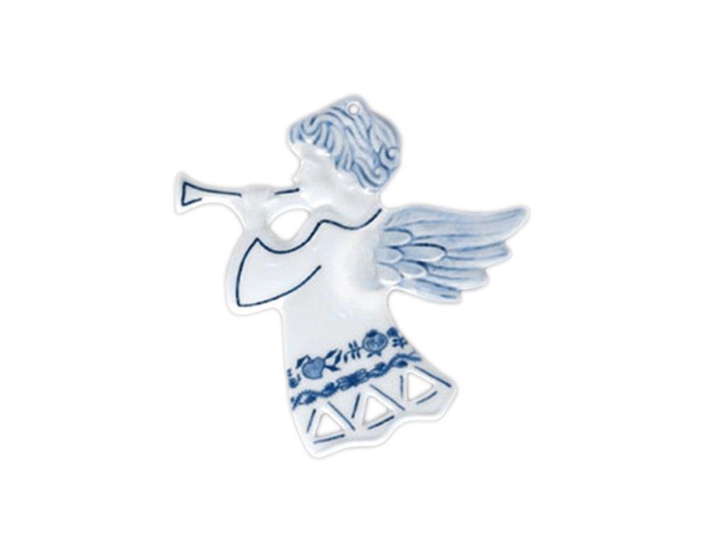Vánoční ozdoba - anděl s trump. prolam., oboustr. - cibulový porcelán 10634
