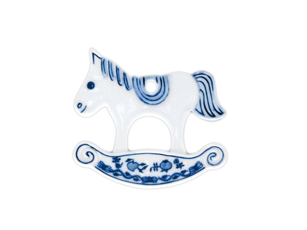 Vánoční ozdoba - houpací koník oboustranný - cibulový porcelán 10631