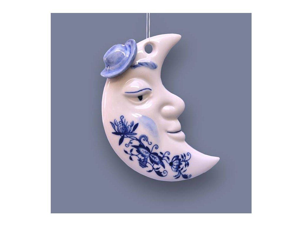 Vánoční ozdoba - měsíček oboustranný - cibulový porcelán 10623