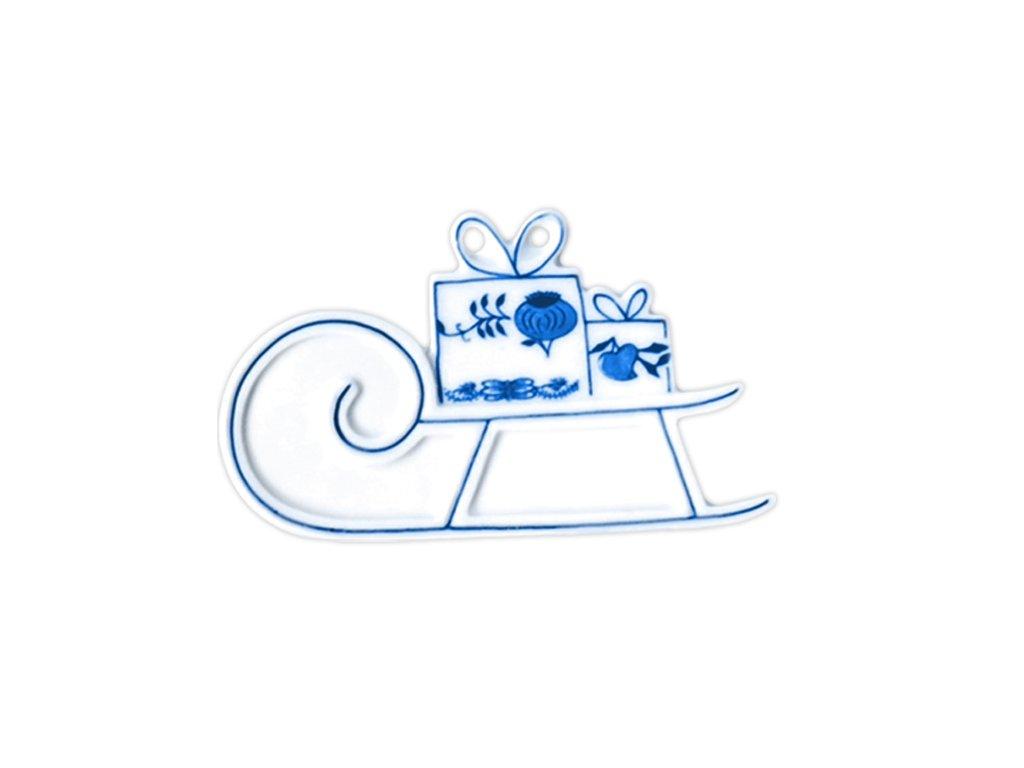 Vánoční ozdoba - sáňky - cibulový porcelán 10659