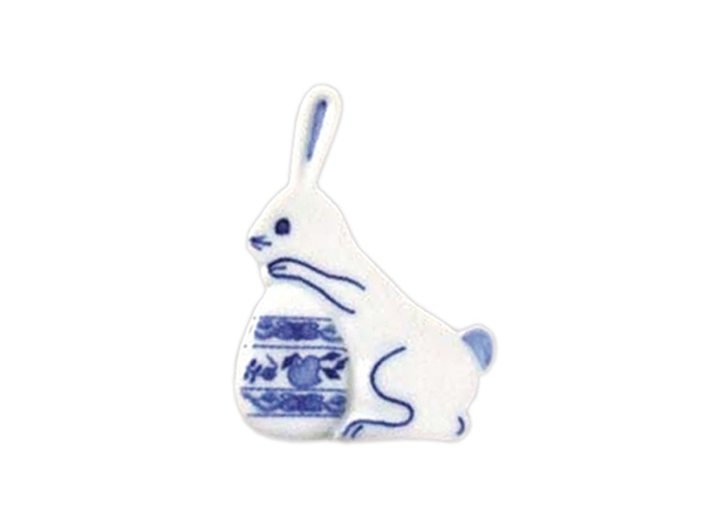 Velikonoční ozdoba - zajíček s vajíčkem - zápich - cibulový porcelán 70707