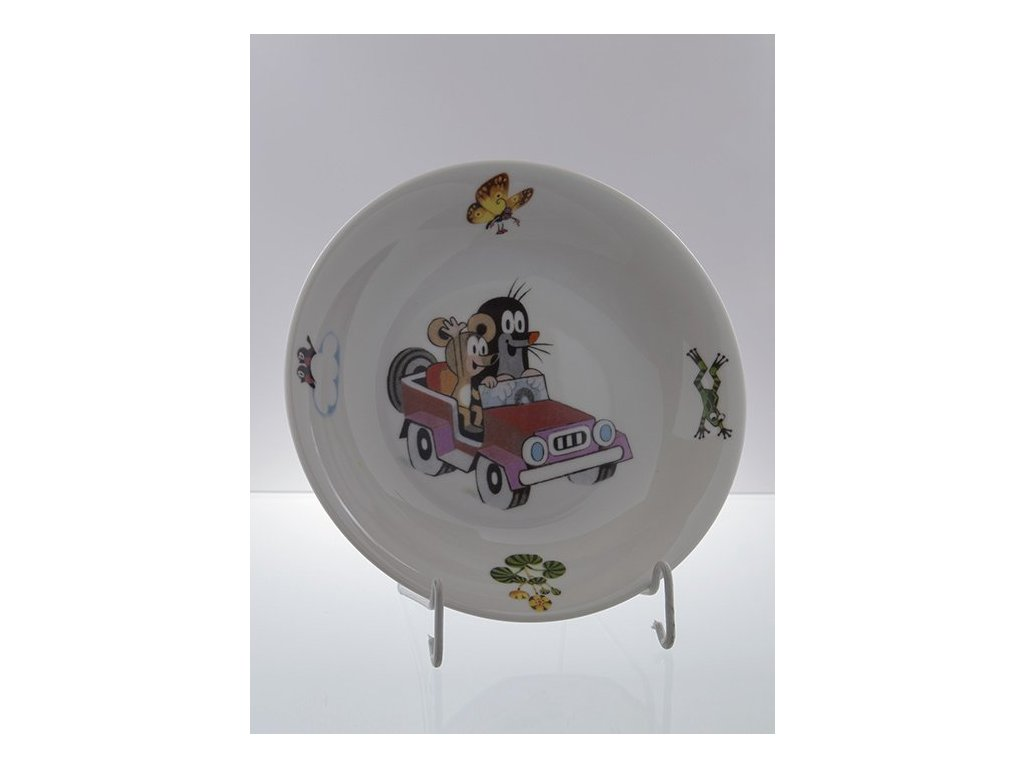 Porcelánový talíř hluboký krteček v autě