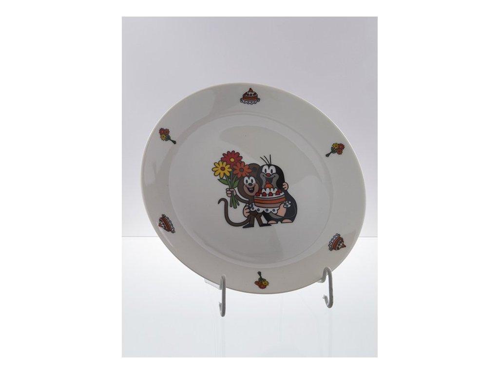 Porcelánový talíř s mělký krteček s dortem