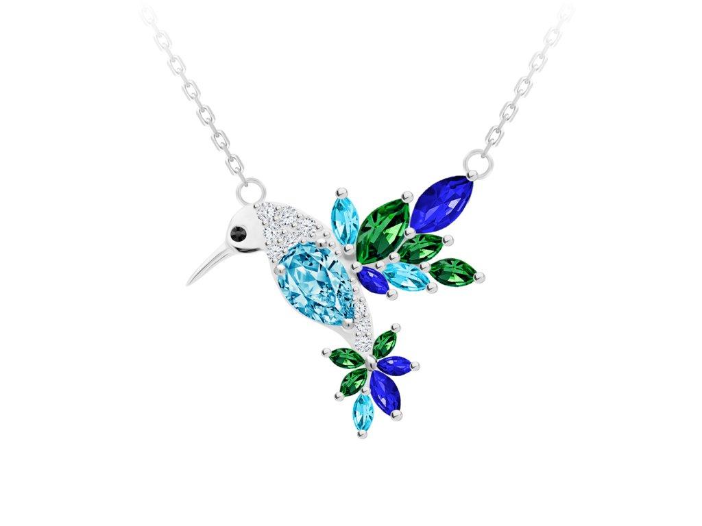 5141 2 stribrny nahrdelnik gentle gem kolibrik s kubickou zirkonii preciosa modrozeleny