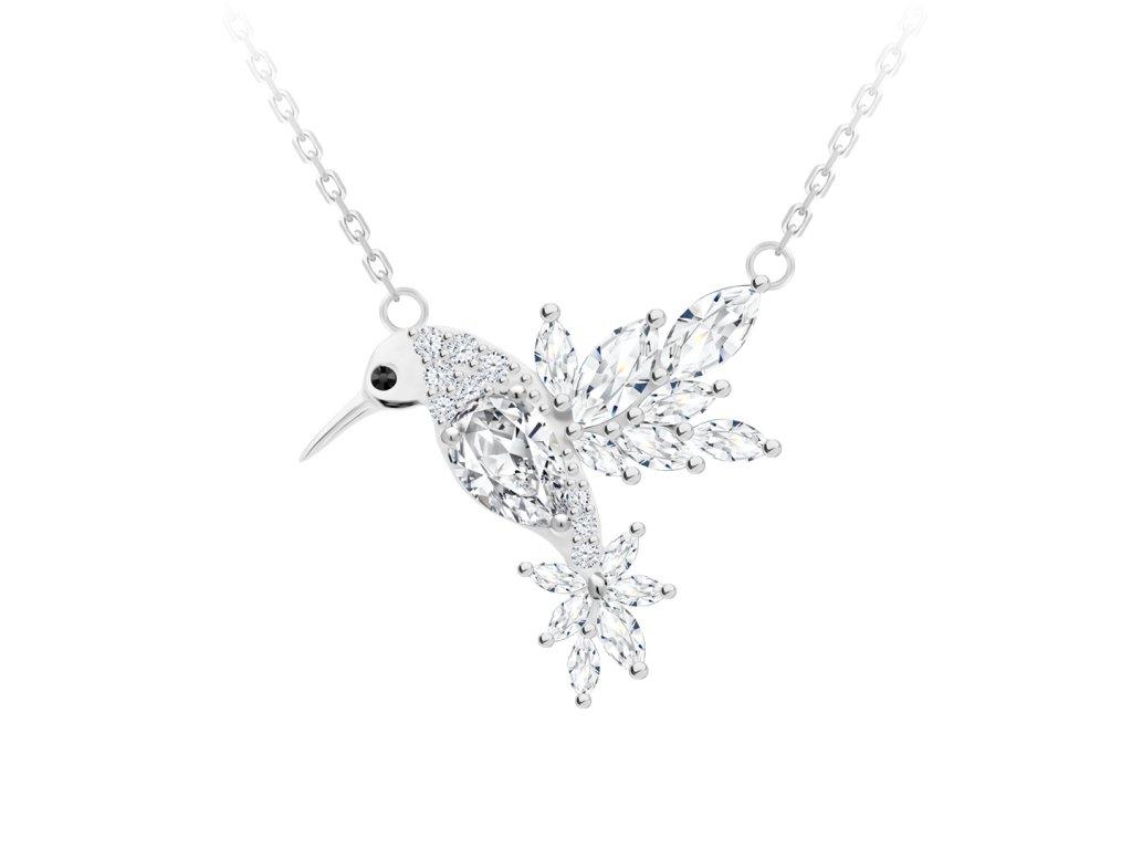 5138 1 stribrny nahrdelnik gentle gem kolibrik s kubickou zirkonii preciosa