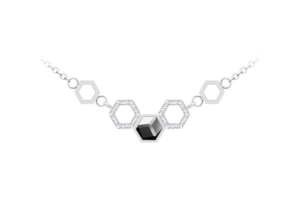 5333 ocelovy nahrdelnik honeygon s ceskym kristalem preciosa