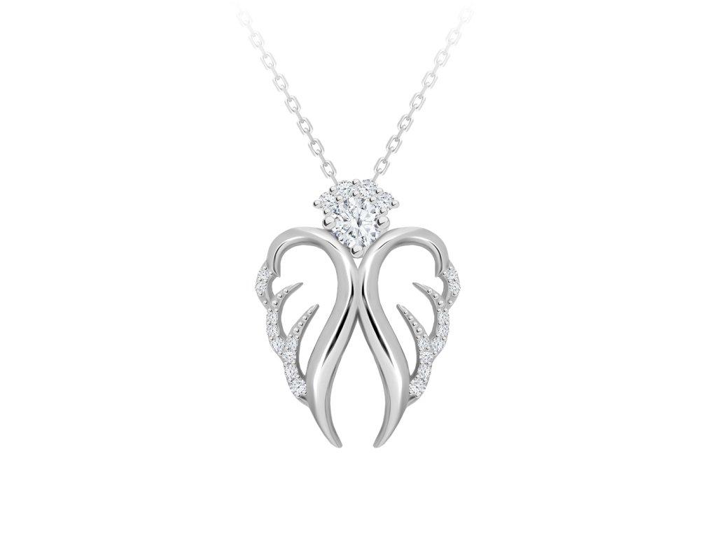 5159 2 stribrny nahrdelnik angelic hope andel s kubickou zirkonii preciosa