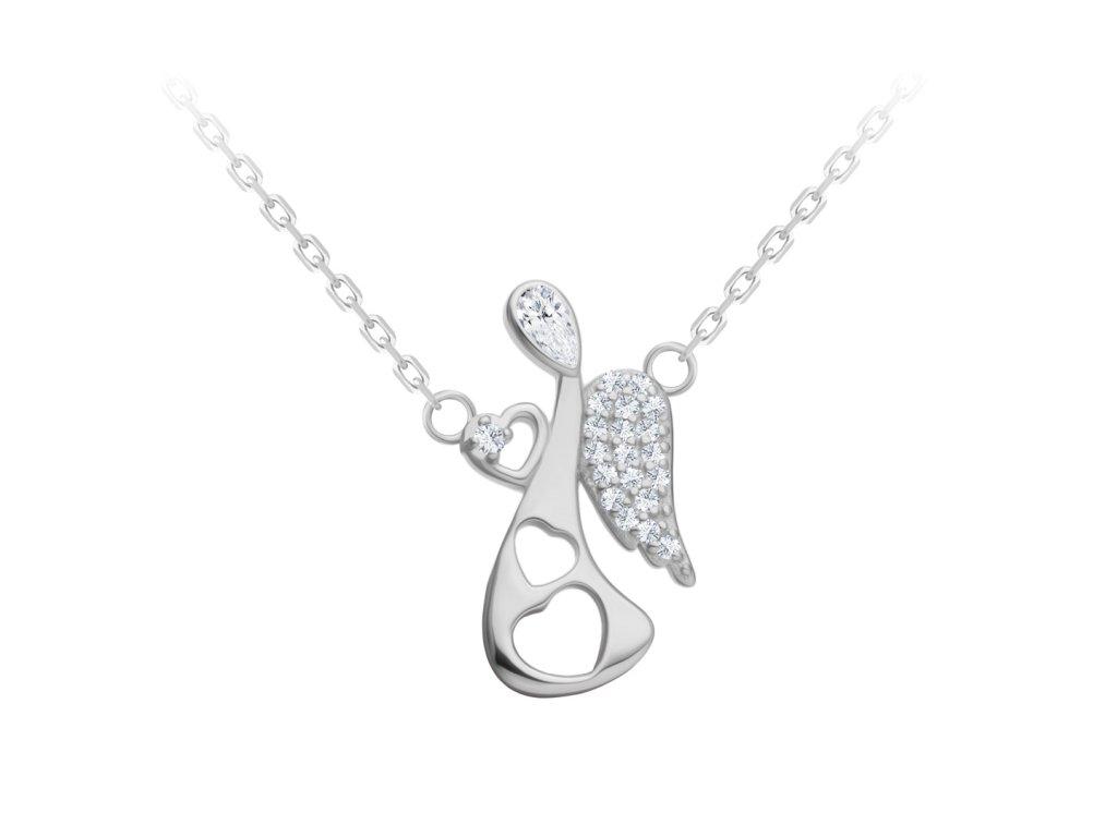 5147 2 stribrny nahrdelnik angelic touch andel s kubickou zirkonii preciosa