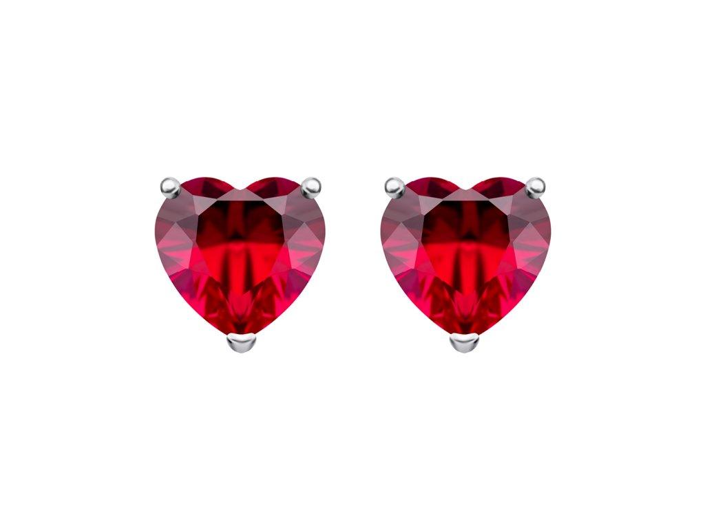4548 2 stribrne nausnice cher srdce s kubickou zirkonii preciosa rude