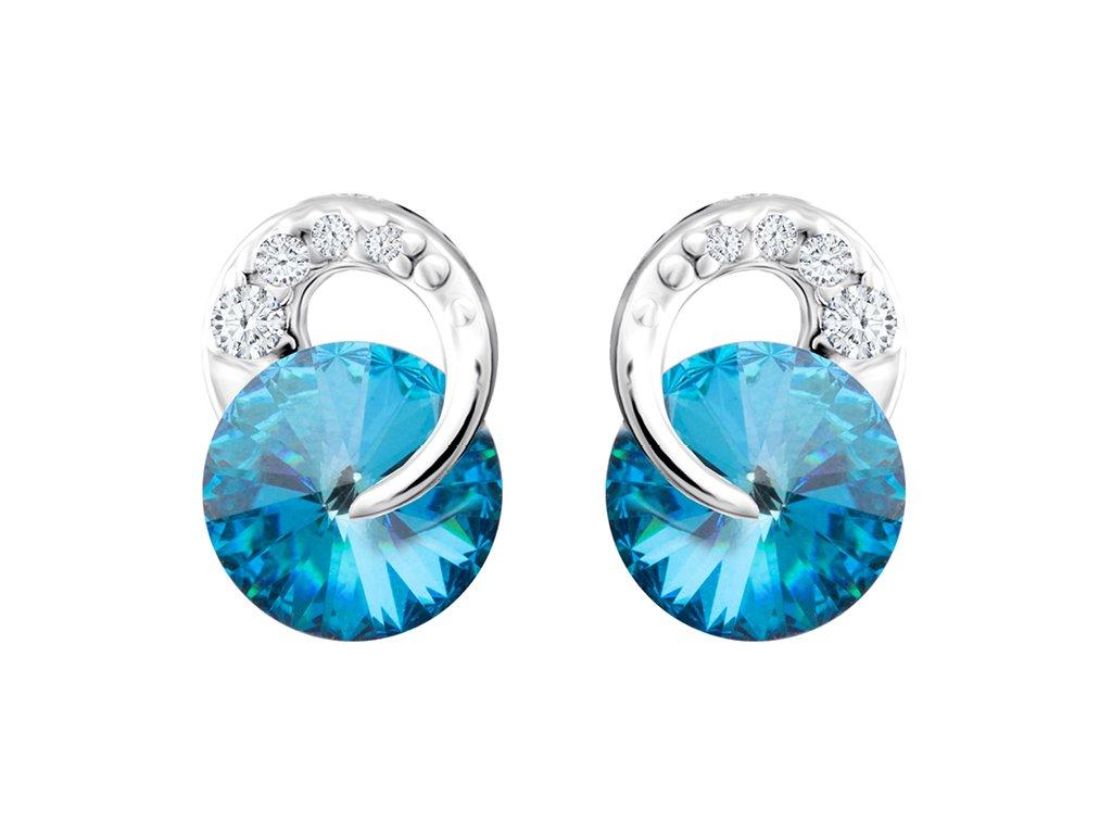 3918 2 stribrne nausnice gentle beauty s ceskym kristalem preciosa modre