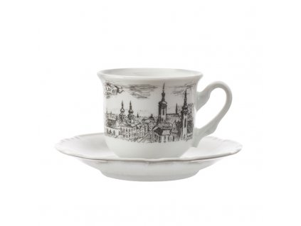 Porcelánový šálek s podšálkem Brno