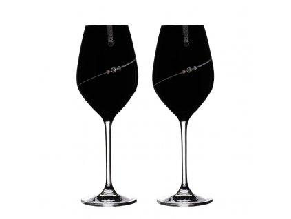 Sklenice na bílé víno přátelská souprava Silhouette black - 2 ks. Swarovski